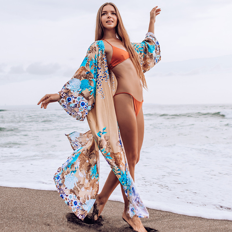 New Bikini Cover Up Plus Size Long Beach Dress Robe Plage Pareo Sarong Saida De Praia Beachwear Tunic For Beach Cover-ups
