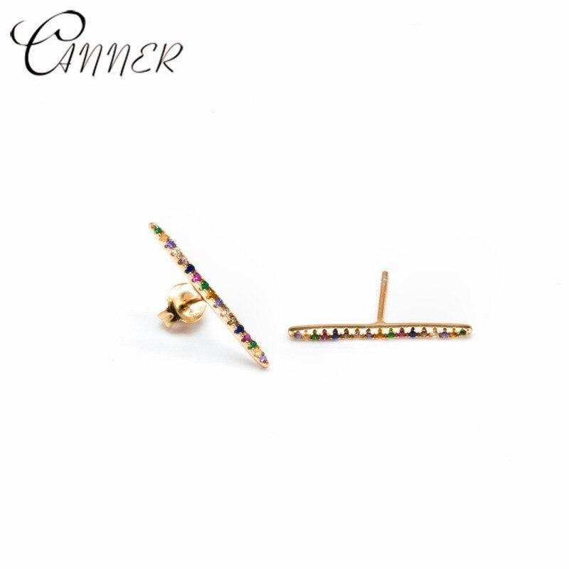CANNER Fashion Rainbow Zircon Stud Earrings for Women Gold Minimalist Geometric Bar 925 Sterling Silver Earring Piercing Jewelry