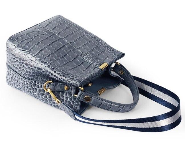Bolso clásico de piel de vaca con patrón de cocodrilo para mujer bolso elegante bandolera bolso de cuero genuino para mujer Bolsa DF453