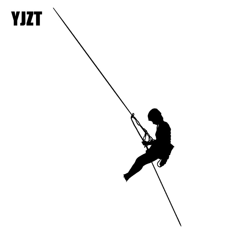 YJZT 10.9CM*19CM Dangerous Men Climbing Ropes Fashion Decor Car Sticker Vinyl Car Styling Decal Black/Silver C31-0030