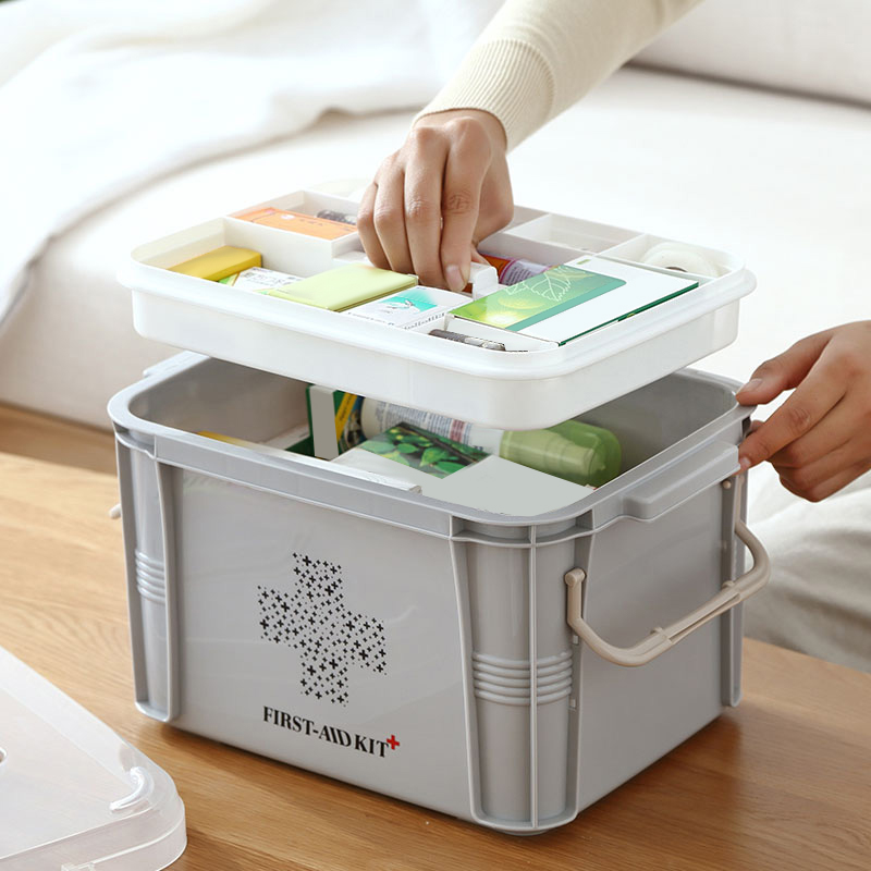 Plastic Medical Box Storage Container Multi-Layer Medicine Box Nordic Home Organizing Boxes( Gray)