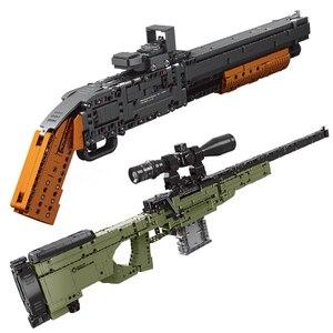 Image 5 - Apt série técnica armas espingarda pode disparar balas conjunto awm winchester modelo militar blocos de construção brinquedos para meninos presentes lepining