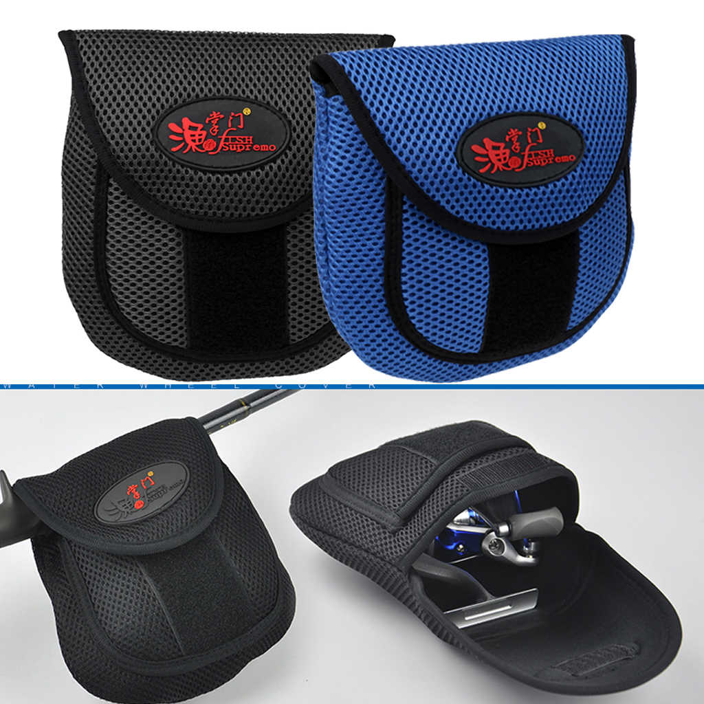 Zwart/Blauw Vissen Reel Cover Storege Case Bag Outdoor Vissen Spinning Casting Visgerei Zak Vissen Reel Tas