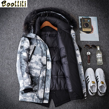 Boollili Men #8217 s Down Jacket Winter Coat Duck Down Jacket Men Hooded Warm Camouflage Big Size Down Jackets Fur Collar 2020 cheap Wide-waisted DPTM089I Casual zipper Full Pockets Thick (Winter) Denim Polyester White duck down Collar Detachable 100g-150g