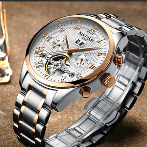 Image 2 - KINYUED Skeleton Tourbillon Mechanical Watch Men Automatic Classic Rose Gold Leather Mechanical Wrist Watches Reloj Hombre 2019