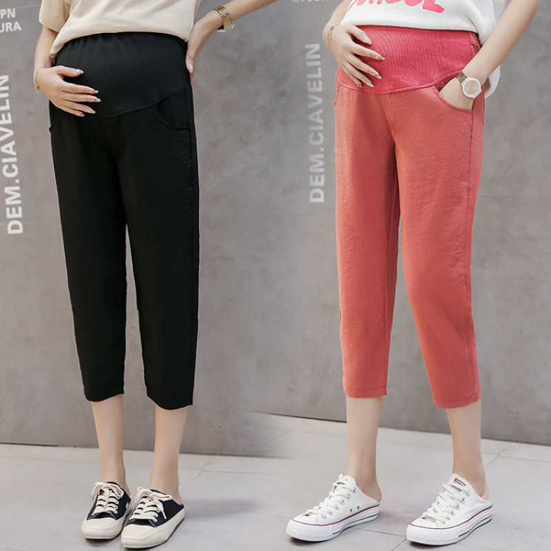 1986# Summer Thin Linen Maternity Capris Pants Casual Harem Pants Clothes for Pregnant Women Pregnancy High Waist Belly Trousers
