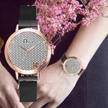 Simple Mesh Dial Women Watch Creative Rose Gold Black Quartz Wrist Watches Luxury Stainless Steel Mesh Crystal Watch reloj mujer belbi women stainless steel lady bracelet watch crystal diamond dial quartz casual wrist watch clock gift reloj mujer
