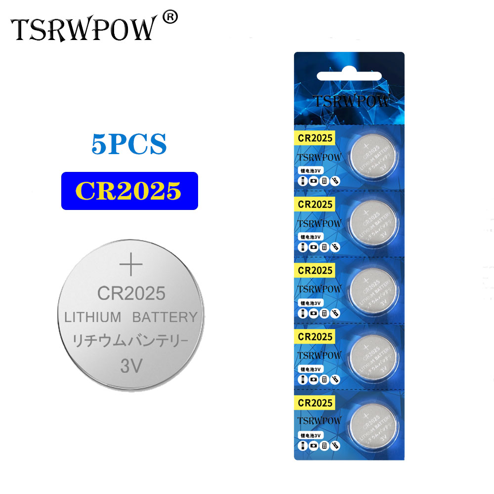 TSRWPOW 5pcs/pack CR2025 Lithium Battery DL2025 3v Button Cell Coin Batteries For Watch Computer Electronic Toy Remote Cr2025