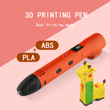 QCREATE ABS PLA Dual Mode 3D Printing Pen LCD Screen 60-245 Celsius Heating Temperature 8 Gears Speed with 50M 10 Color Filament
