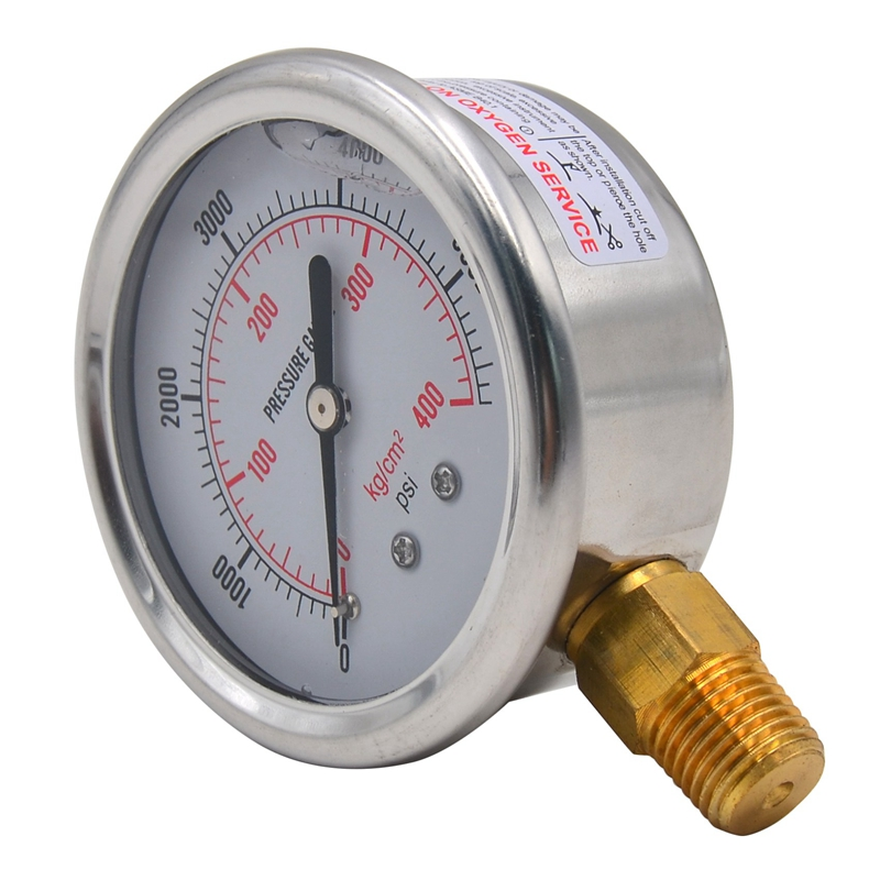 1/4 NPT Automotive Oil Pressure Gauge Instrument Hydraulic Meter 0-5700 PSI Gauge