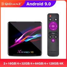 Caixa de tv smart x88 pro x3, android 9.0, amlogic s905x3 quad core 1080p 4k, google play, 2g caixa de parte superior 16g x88pro x3