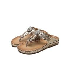 2020 мода лето женщины сандалии свободного покроя Кристалл сексуальный анти-скольжения флип-флоп пляж Богемия Sandalias обувь тапочки