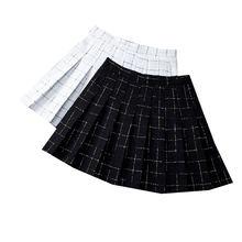 Женская твидовая мини юбка в клетку с высокой талией