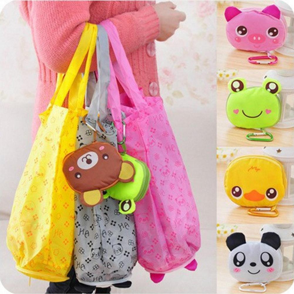 Reusable Foldable Shopping Tote Waterproof Shopping Bags Storage Organizer Eco Bag Cartoon Animal Panda Frog Pig