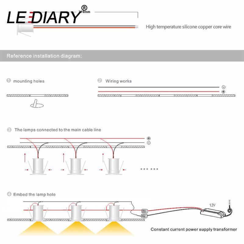 LEDIARY IP65 DC12V مصباح LED صغير بقعة إضاءة الخزانات النازل 15 مللي متر قطع حفرة RA80 تحت خزانة مجوهرات عرض مصباح السقف راحة