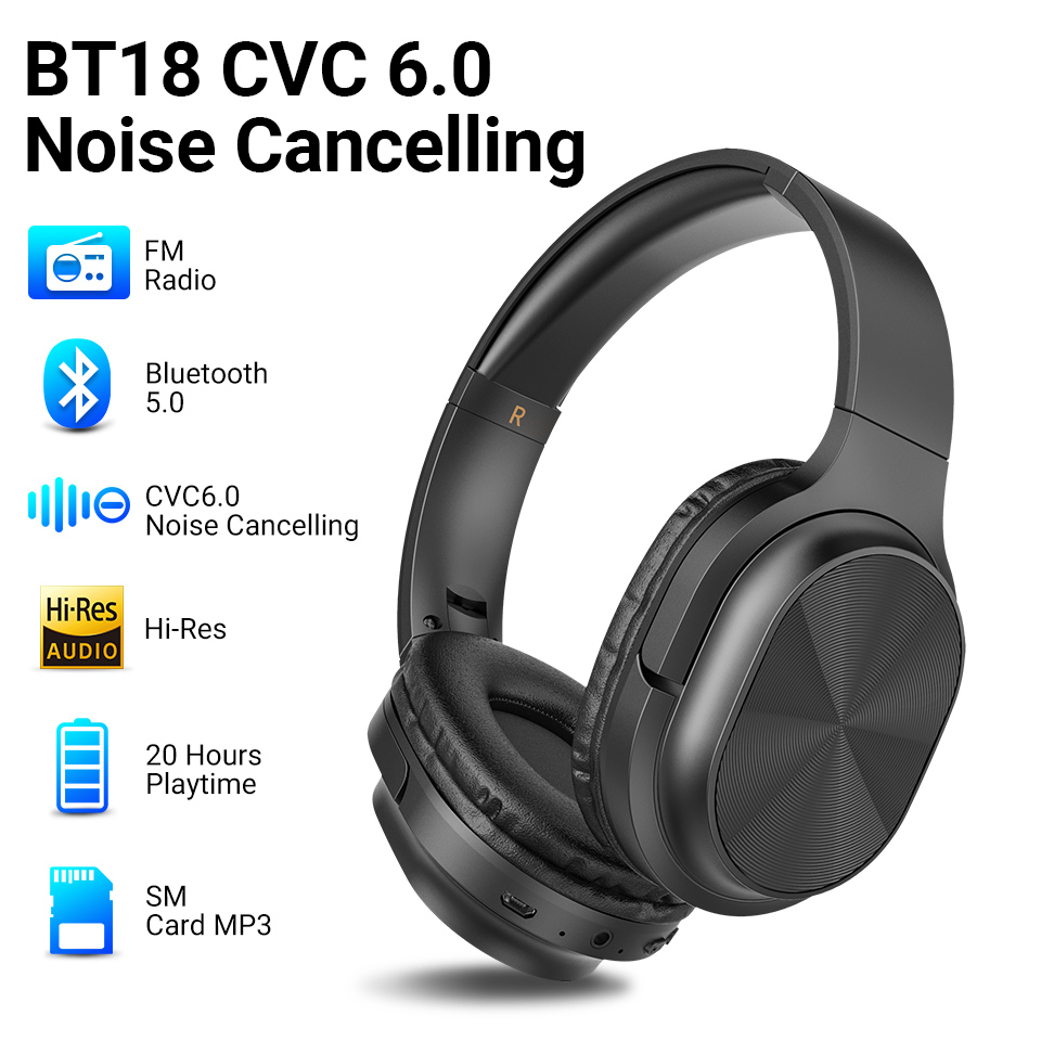 Langsdom 2020 Headphones Bluetooth Earphone Wireless Over-Ear Headphone For Phone Stereo Gaming Headset With Mic TF Card MP3 FM