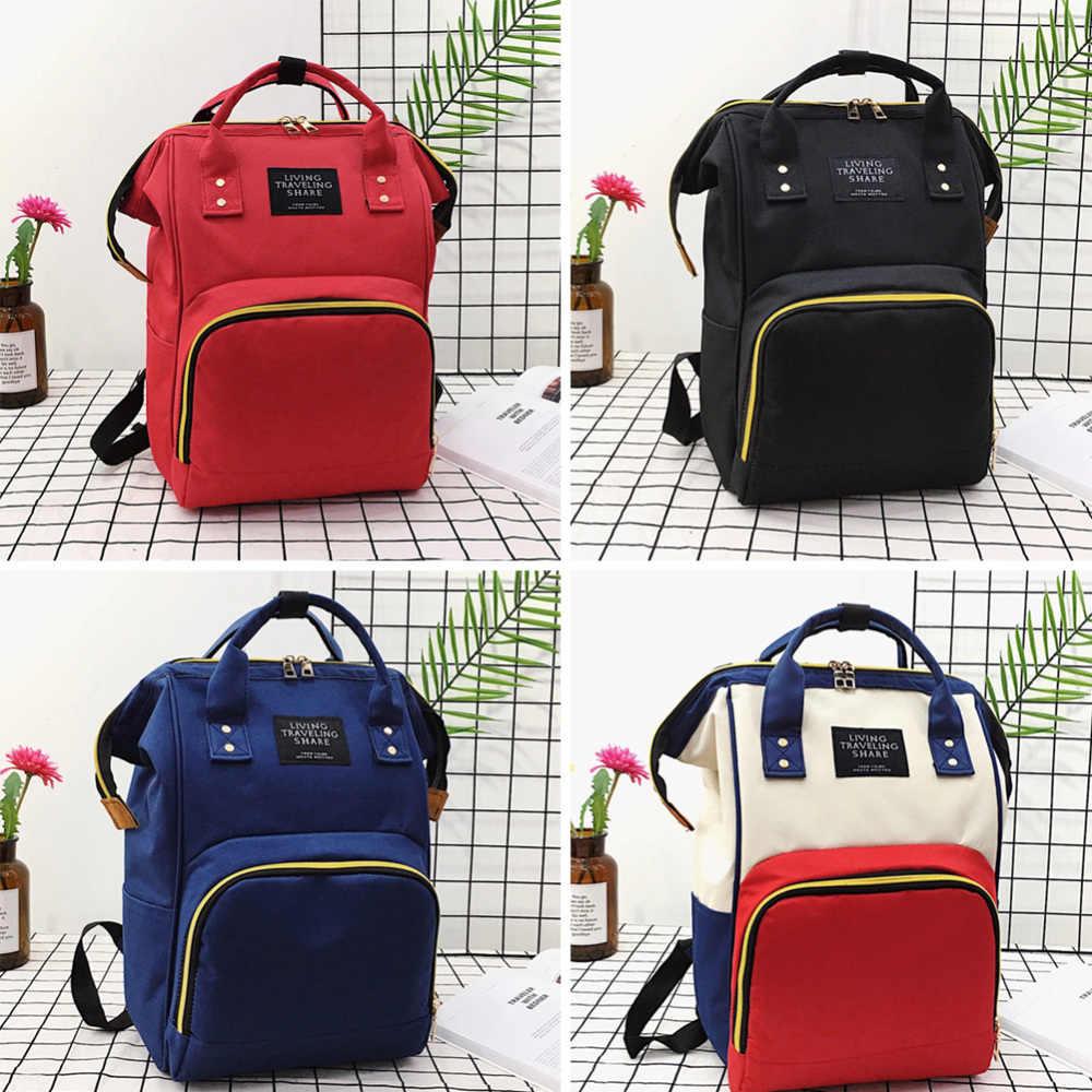 Bolsa de pañales de gran capacidad, bolsa de pañales de maternidad para mamá, mochila de viaje, bolsa de lactancia para el cuidado del bebé, bolsa de moda para mujer J75