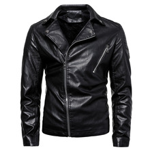 Leather Biker Fake Jacket PU Men Autumn Thick Pu Solid Mens Jackets Coats Motorcycle MOOWNUC