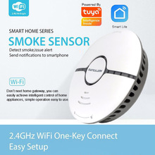 Smart life tuya smoke detector fire security system wifi sensor standalone wireless cigarette alarm compatible Alexa google