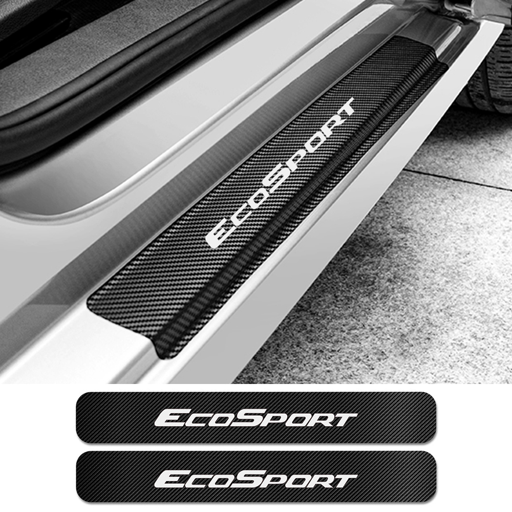 4PCS Car Door Sill Stickers For Ford Ecosport Auto Carbon Fiber Anti Scratch Protector Decal Scuff Plate Car Tuning Accessories