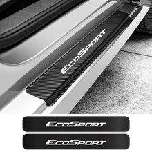 4 autocollants de seuil de porte de voiture pour Ford Ecosport Auto en Fiber de carbone anti-rayures, plaque de protection, accessoires de réglage de voiture