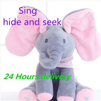 30cm Elephant Electric Toy Hide and Seek Cat Soothing Doll Elephant Dog Rabbit Plush Toy Ears Move Music Baby Animal PP Cotton цена 2017