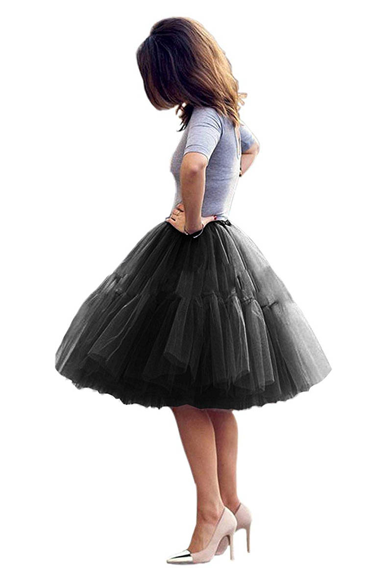 Women Black Short Petticoat Tulle Fluffy Princess Five Layers A Line Party Prom Skirt Petticoat Vestidos Para La Boda Formal