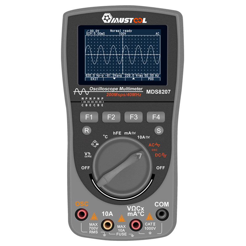 MUSTOOL MDS8207 Intelligent 2 in 1Digital 40MHz 200Msps S Oscilloscope 6000Counts True RMS Multimeter Upgraded Type VS MT8206