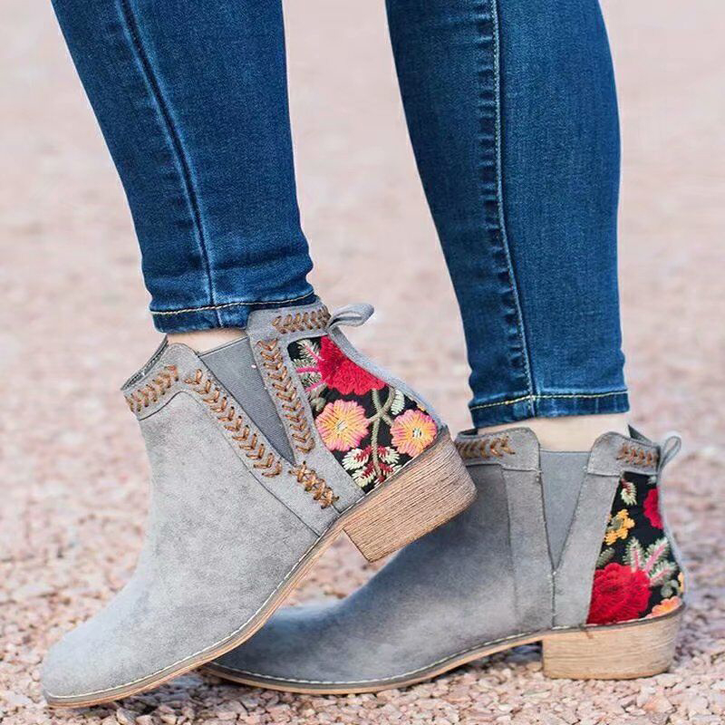 Women Fashion Ankle Boots Women's Embroidery Woman Thick Heels Autumn 2020 Ladies Elastic Band Warm Boots Female Shoes Plus Size