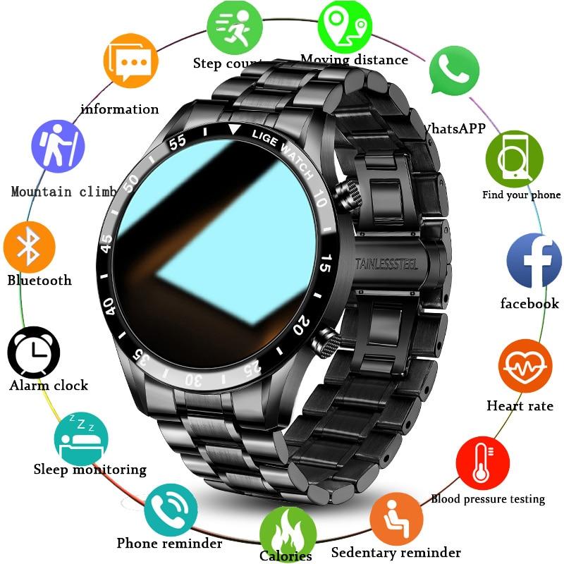 LIGE 2021 Новый смарт-часы для мужчин полный сенсорный Экран часы мониторинга сердечного ритма Спорт Фитнес вызовов через Bluetooth Водонепроницае...