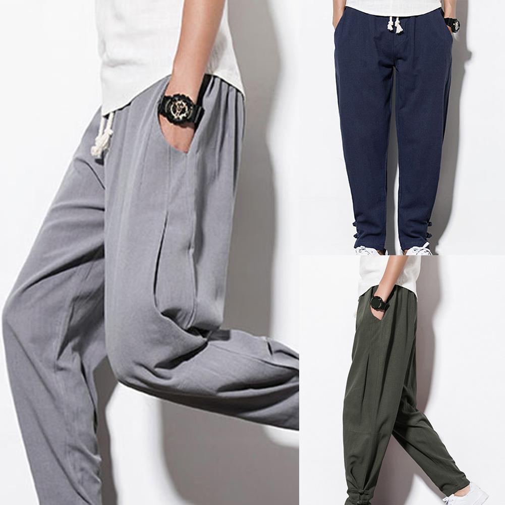 Casual Men Drawstring Pockets Ankle Tie Cotton Linen Plus Size Loose Harem Pants Stretch Flexible Man Casual Trousers