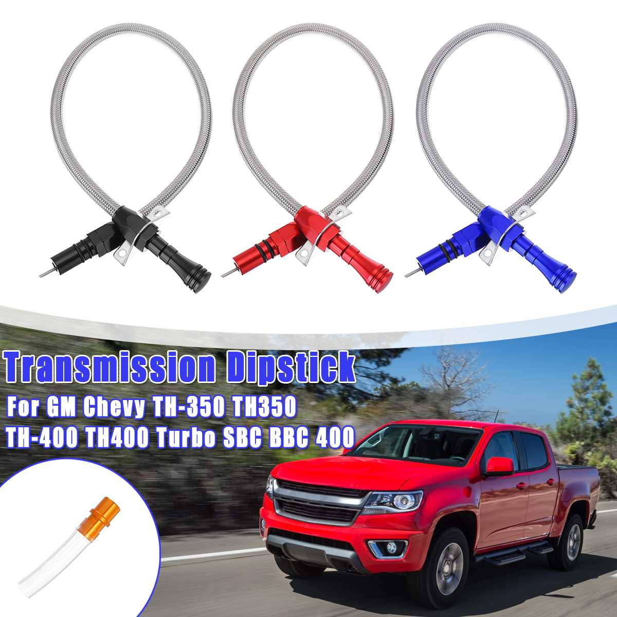 TH400 Flexible Stainless Transmission Dipstick For GM Chevy TH-350 TH350 TH-400 TH400 Turbo SBC For BBC 400 1set Black,Red,Blue