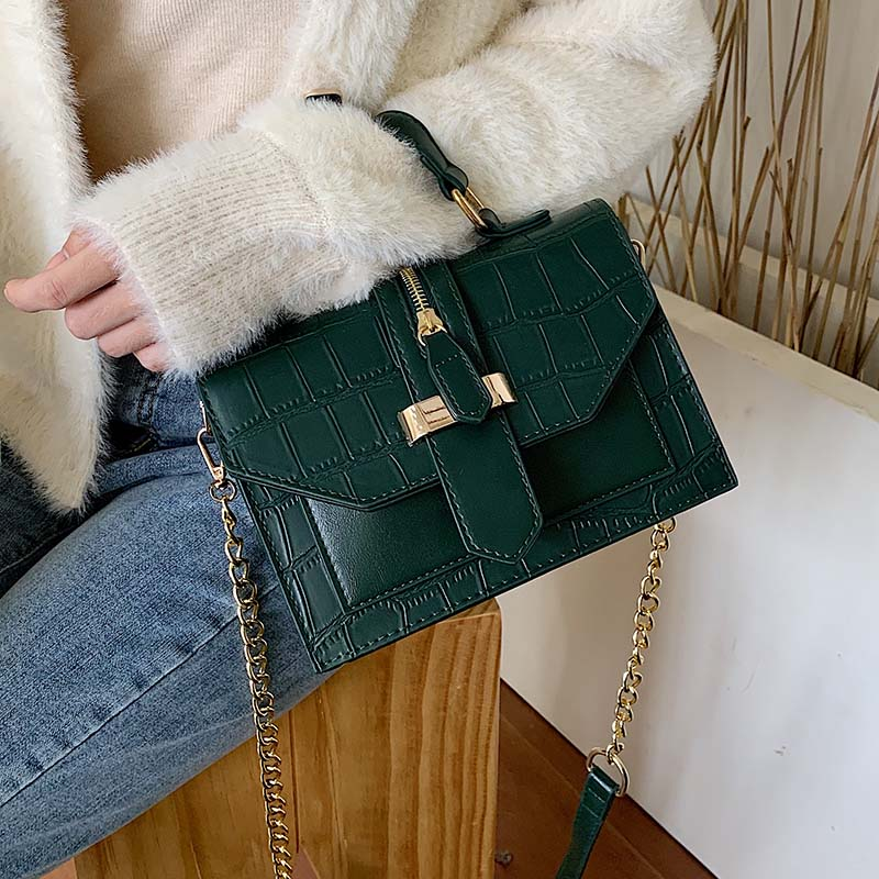Stone Pattern PU Leather Solid Color Crossbody Bags For Women 2020 MINI Chain Shoulder Messenger Bag Lady Handbags