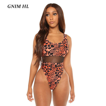 GNIM High Waist Leopard Swimsuit Women One Piece Sexy Mesh Bikini 2020 Summer Beachwear Swimwear Female Bodysuit New