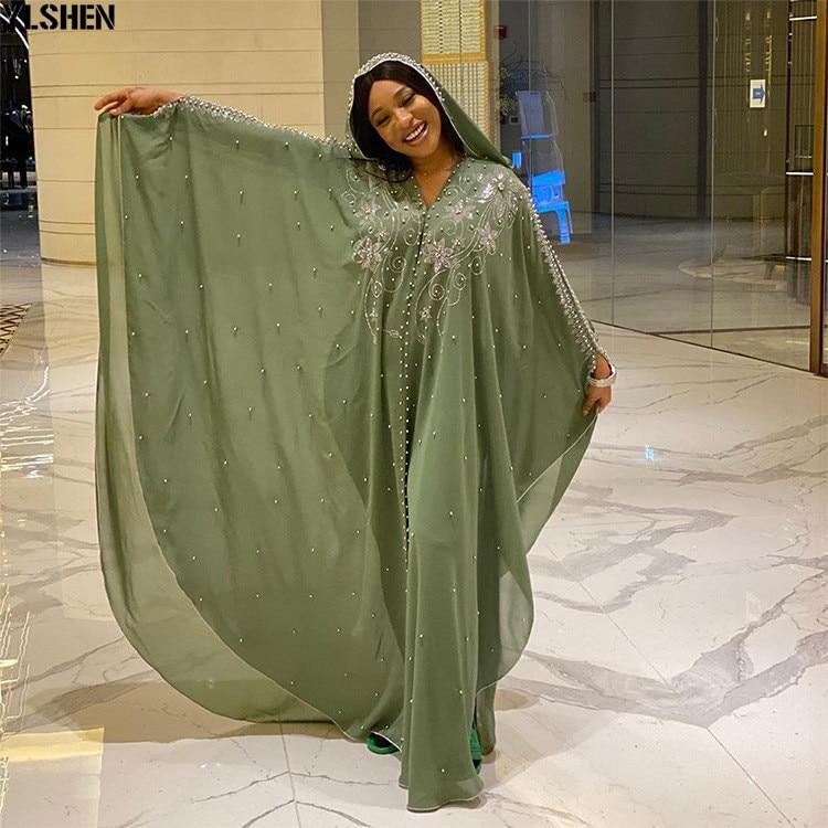 Length 150cm Africa Dress African Dresses for Women Dashiki Diamond Beaded Traditional Boubou African Clothes Abaya Muslim Dress 03