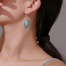 Modyle vintage adorável gota de água brincos para mulheres moda jóias turquesa pingentes longo brinco bijoux femme presentes