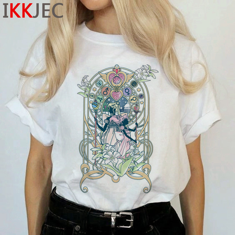 Kawaii Sailor Moon Funny Cartoon T Shirts Women Harajuku Ullzang Cute T-shirt Usagi Graphic Tshirts Korean Style Top Tees Female 5