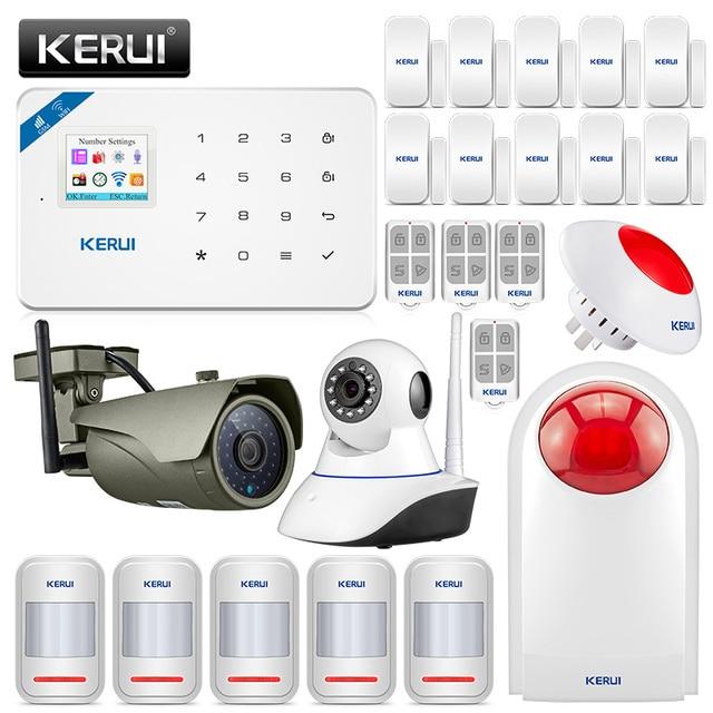 KERUI W18 GSM 2.4G WIFI 무선 도난 경보기 시스템 홈 가든 빌라 알람 키트 와이파이 야외 실내 IP 카메라