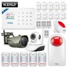 Kerui w18 gsm 2.4g sistema de alarme de segurança, sem fio, para área interna, para jardim, vila, kit de alarme câmera ip ip,