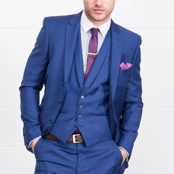 2020 Three Piece Blue Men Suits Notch Lapel Custom Made Wedding Tuxedos Slim Fit Male Suits (Jacket + Pants + Vest+Tie)
