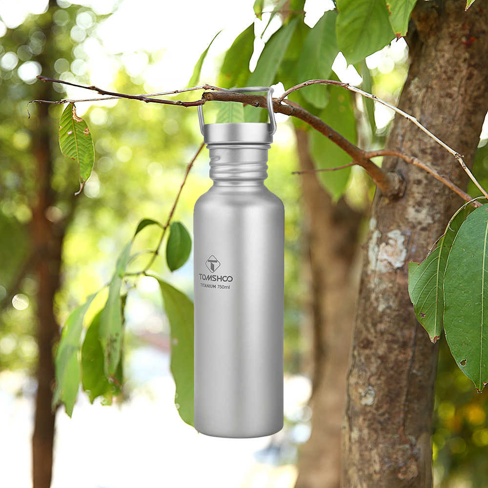 600ml Full Titanium Water Bottle with Extra Plastic Lid Outdoor Camping Z2J5