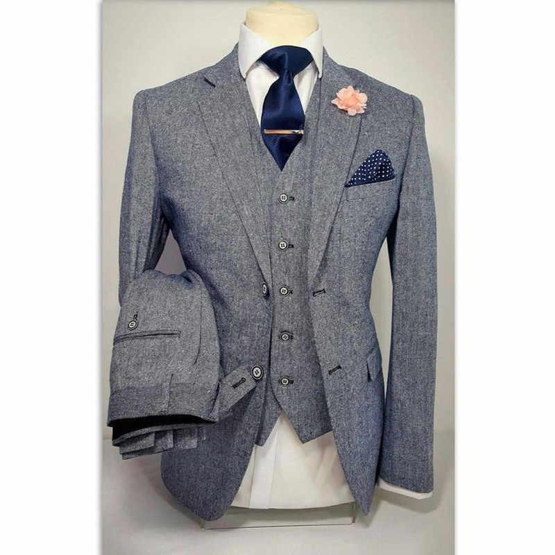 Szary Tweed oficjalny garnitur męski Slim Slim fit, blezer Masculino niestandardowy stylowy mężczyźni Tuxedo 3 sztuka garnitury ślubne (marynarka + spodnie + kamizelka) AF863