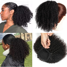 Афро кудрявые волосы для конского хвоста Maxine 4B кудрявые удлинители конского хвоста с зажимом для конского хвоста человеческие волосы для н...