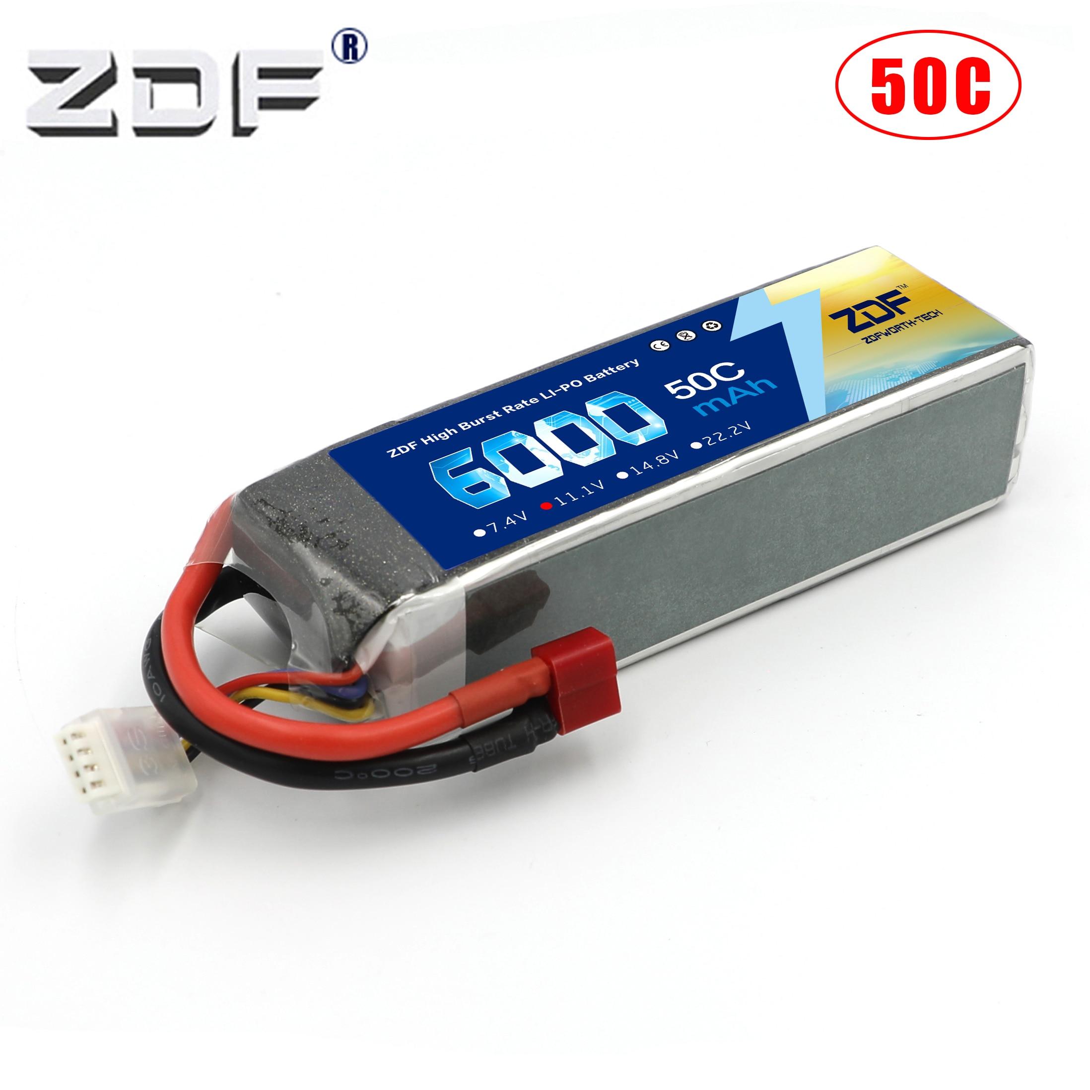 Batterie ZDF lipo 11.1V 6000mah 50C 3S max 100C pour RC 1:8 1:10 1:5 voiture de course Trex-450 hélicoptère quadrirotor à voilure fixe