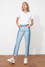 2021 New Blocky High Bel Mom Jeans Trousers Casual Denim Outerwear Blue Streetwear Vintage Women Fashion Time limited