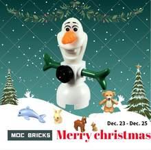 Única venda diy figura de ação dos desenhos animados olaf boneco de neve bloco de construção educacional tijolos crianças brinquedos para crianças bonecas presentes natal