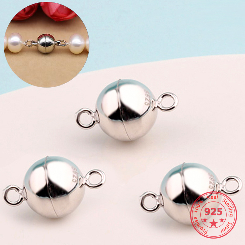 925 Sterling Silver Fittings Ball Shape Magnetic Clasp Converter 6mm 8mm Making Bracelet Necklace Jewelry Decoration Accessories
