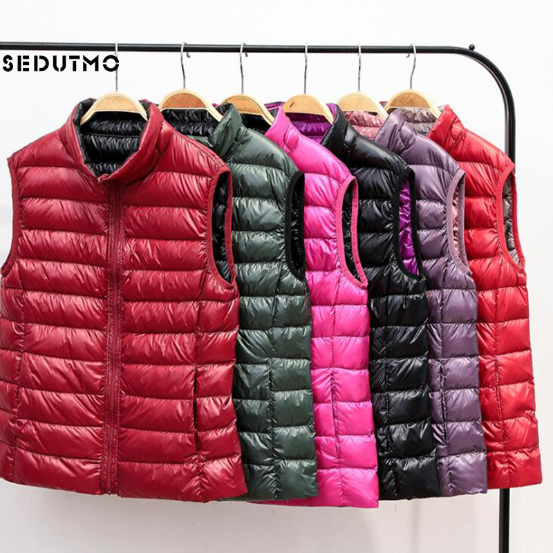 SEDUTMO Winter Plus Size 3XL Womens Duck Down Coat Ultra Light Vest  Two Side Wear Short Puffer Jacket Tank Waistcoat ED917