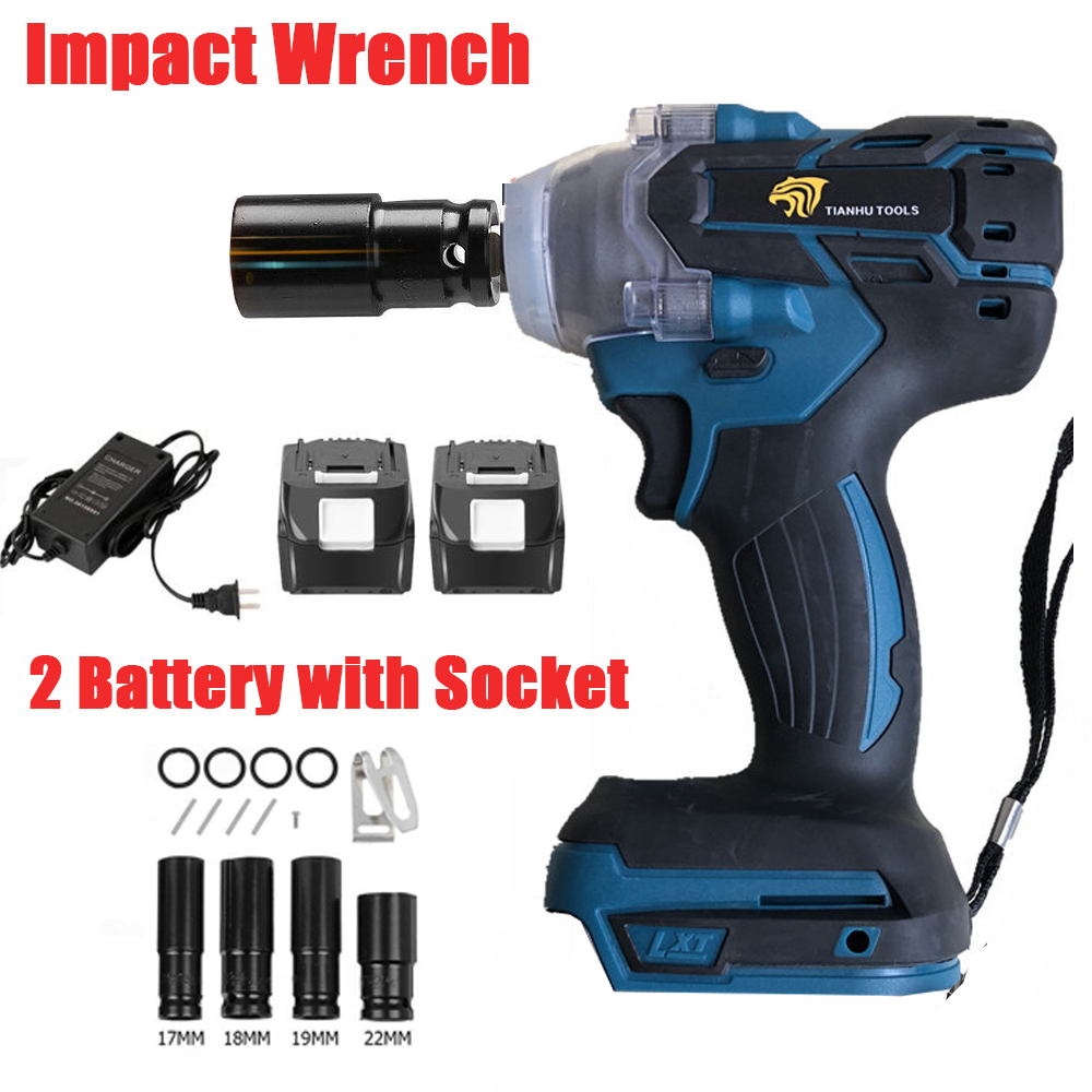 18V 520Nm Impact Wrench Electric Rattle Gun Screwdriver Speed Cordless Power Tool With 4pcs Impart Socket Brushless With Battery