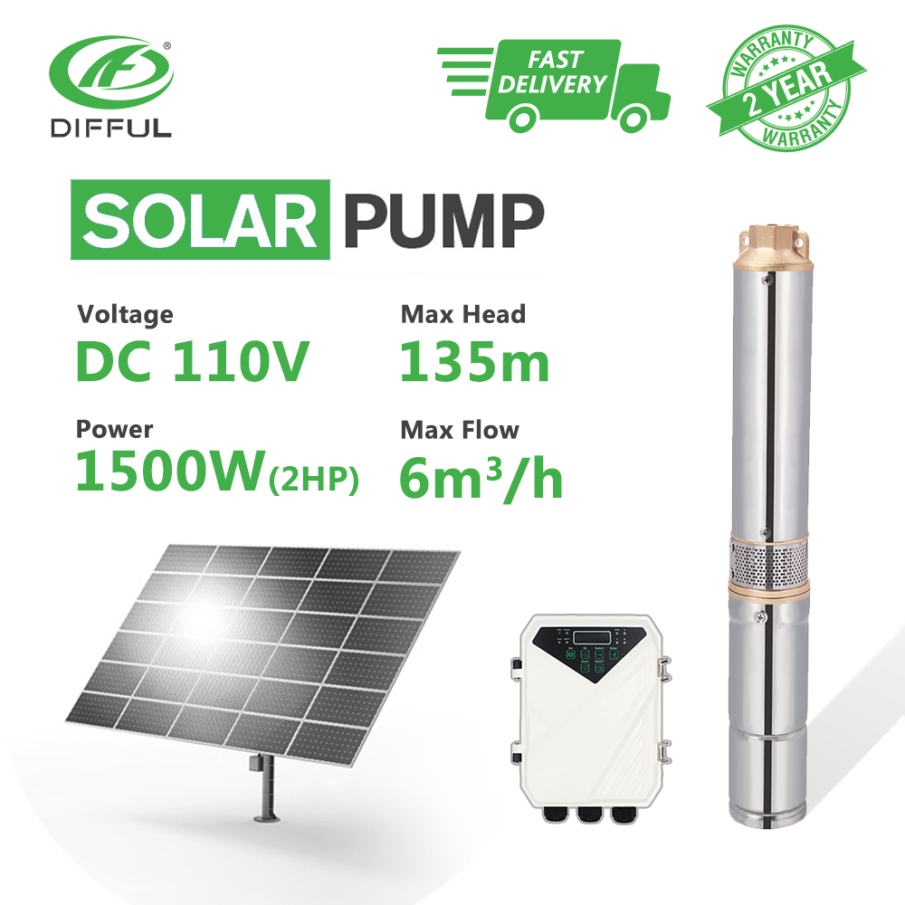 "Bomba de agua Solar Deep Well 4 ""CC sumergible 110V 2HP cobre salida MPPT controlador impulsor plástico (cabeza máxima 135 m, flujo 6 T/H)"